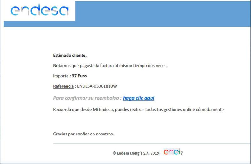 Phishing suplantación Endesa